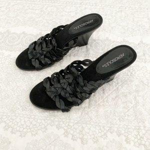 NEW Aerosoles Black Woven Sandal Wooden Wedges